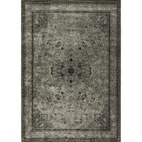 Traditional Distressed Grey/ Black Rug - 12' x 15'