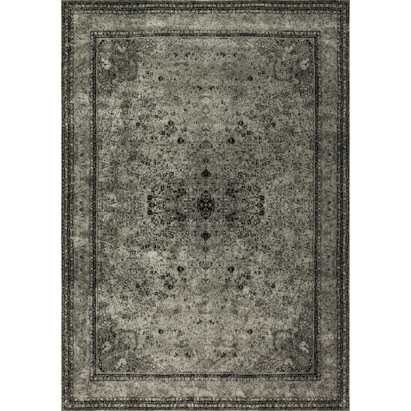 "Traditional Distressed Grey/ Black Rug - 9'2"" x 12'2"""