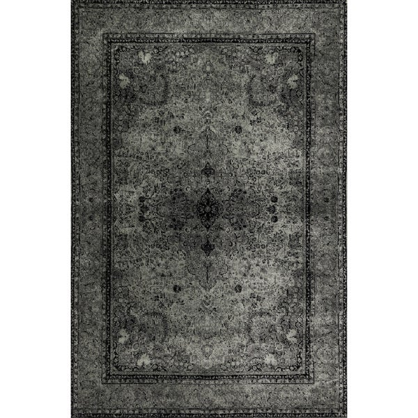 Traditional Distressed Grey/ Black Rug - 5' x 7'6