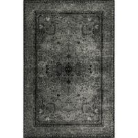 Traditional Distressed Grey/ Black Rug - 5' x 7'6