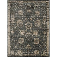 "Traditional Distressed Charcoal Grey/ Beige Floral Rug - 9'2"" x 12'2"""