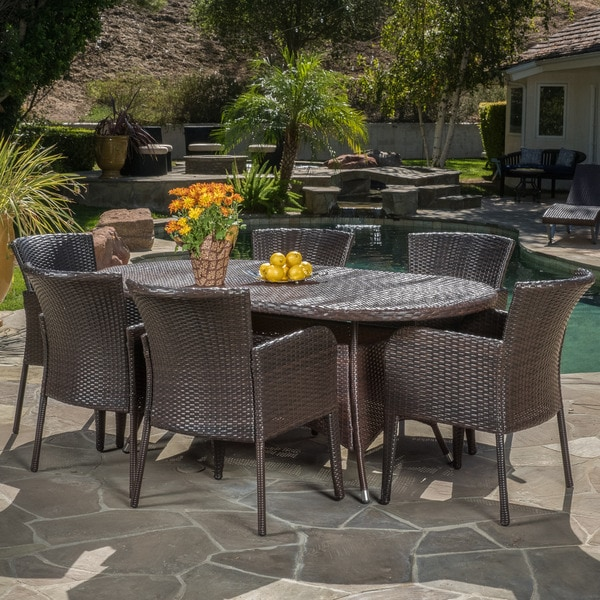 corsica outdoor 7piece wicker dining set by christopher knight home