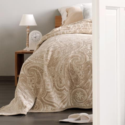 IBENA Sorrento Natural Paisley Bed-size Blanket