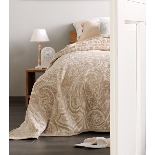 IBENA Sorrento Natural Paisley King-size Blanket