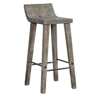 Tam Rustic Brown Wood 24-inch Counter Stool by Kosas Home