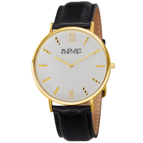 August Steiner Men's Classic Quartz Leather Gold-Tone Strap Watch - black