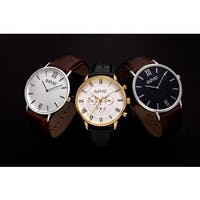 August Steiner Men's Classic Quartz Leather Strap Watch - silver