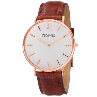 August Steiner Men's Classic Quartz Leather Rose-Tone Strap Watch