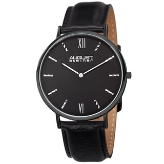 August Steiner Men's Classic Quartz Leather Black Strap Watch