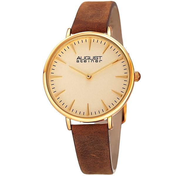 August Steiner Classic Women's Quartz 'Crazy Horse' Leather Gold-Tone Strap Watch - brown
