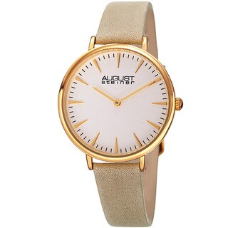 August Steiner Classic Women's Quartz 'Crazy Horse' Leather White Strap Watch with FREE Bangle