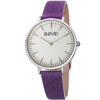 August Steiner Classic Women's Quartz 'Crazy Horse' Leather Purple Strap Watch