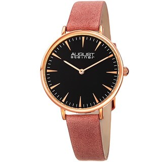 August Steiner Classic Women's Quartz 'Crazy Horse' Leather Pink Strap Watch with FREE Bangle