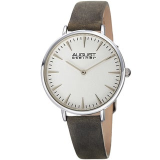 August Steiner Classic Women's Quartz 'Crazy Horse' Leather Grey Strap Watch with FREE Bangle