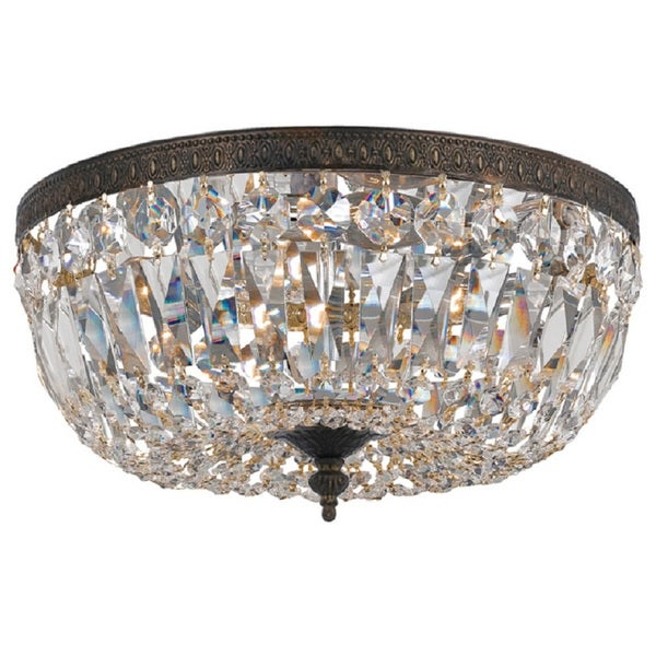 Crystorama Traditional 3-light Clear Crystal/ English Bronze Flush Mount