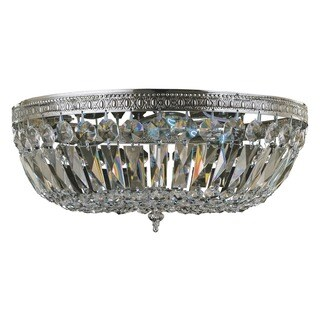 Crystorama Traditional 3-light Clear Crystal/ Chrome Flush Mount