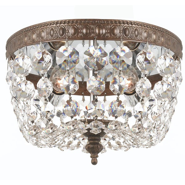 Crystorama Traditional 2-light Clear Crystal/ English Bronze Flush Mount