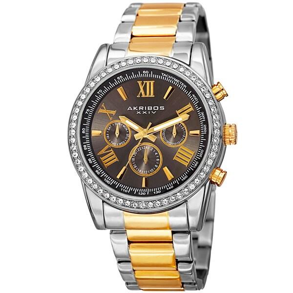 Akribos XXIV Men's Swiss Quartz Swarovski Crystals Dual-Time Stainless Steel Two-Tone Bracelet Watch