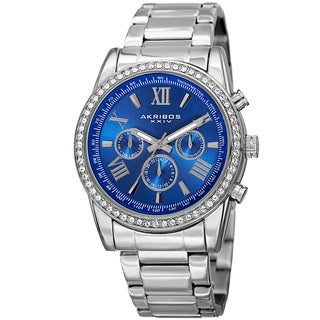 Akribos XXIV Men's Swiss Quartz Swarovski Crystals Dual-Time Stainless Steel Silver-Tone Bracelet Wa with FREE GIFT - Blue