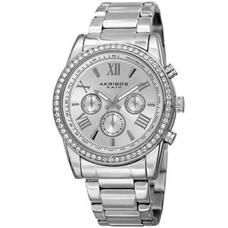 Link to Akribos XXIV Men's Swiss Quartz Swarovski Crystals Dual-Time Stainless Steel Bracelet Watch Similar Items in Men's Watches