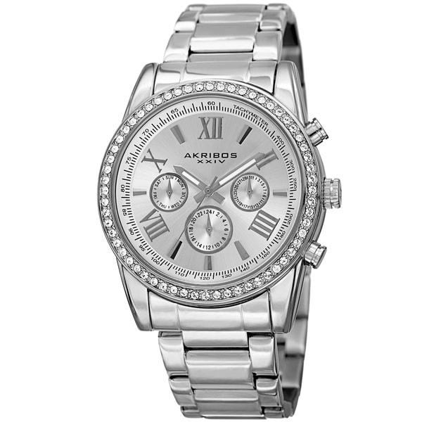 Akribos XXIV Men's Swiss Quartz Swarovski Crystals Dual-Time Stainless Steel Bracelet Watch. Opens flyout.