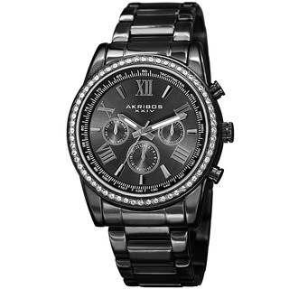 Akribos XXIV Men's Swiss Quartz Swarovski Crystals Dual-Time Stainless Steel Black Bracelet Watch