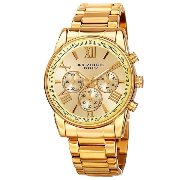 Akribos XXIV Men's Multifunction Tachymeter Stainless Steel Gold-Tone Bracelet Watch - GOLD