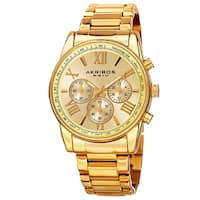 Akribos XXIV Men's Multifunction Tachymeter Stainless Steel Gold-Tone Bracelet Watch - Gold