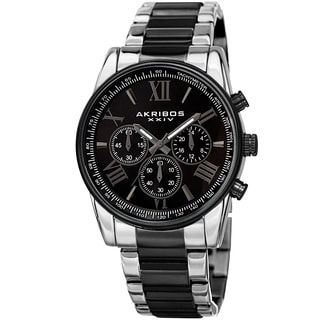 Akribos XXIV Men's Multifunction Tachymeter Stainless Steel Two-Tone Bracelet Watch