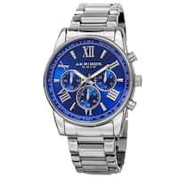 Akribos XXIV Men's Multifunction Tachymeter Stainless Steel Silver-Tone Bracelet Watch - brown