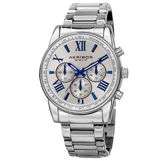 Akribos XXIV Men's Multifunction Tachymeter Stainless Steel Silver-Tone Bracelet Watch - Silver