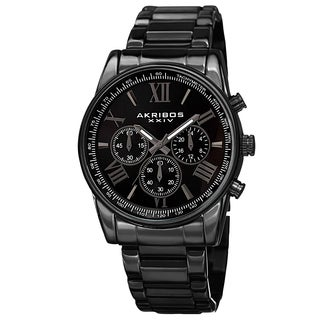 Akribos XXIV Men's Multifunction Tachymeter Stainless Steel Bracelet Watch (2 options available)