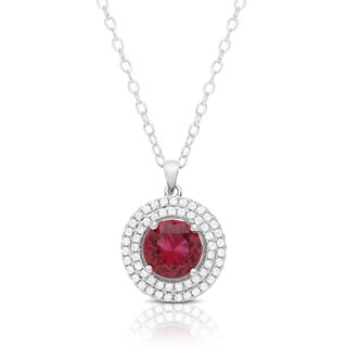 Dolce Giavonna Sterling Silver Simulated Rhodolite and CZ Circle Necklace