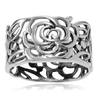 Journee Collection Sterling Silver Roses Band (10 mm)