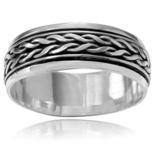 Journee Collection Sterling Silver Spinner Braid Band (8 mm)
