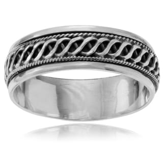 Journee Collection Sterling Silver Braid Spinner Band