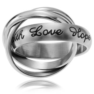 Journee Collection Stainless Steel 'Faith Love Hope' 3 Band Ring Set