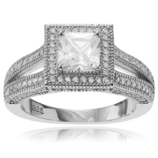 Journee Collection Sterling Silver Cubic Zirconia Square Halo Engagment Ring