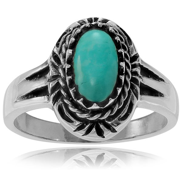 Journee Collection Sterling Silver Turquoise Oval Stone Ring