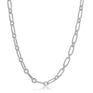 Journee Collection Sterling Silver 2.4 mm Mixed Link Chain 18 Inches