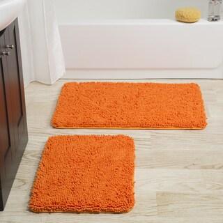rug set orange windsor home 2 piece memory foam shag bath mat - Burnt Orange Bath Set