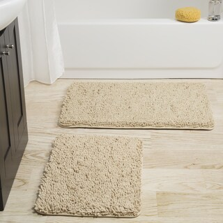 Windsor Home 2-piece Memory Foam Shag Bath Mat - 32 x 21