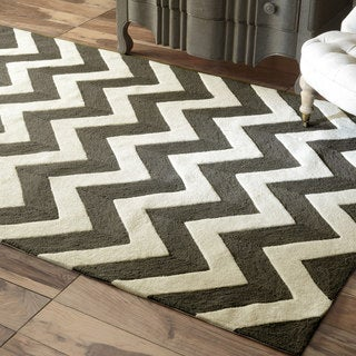 nuLOOM Handmade Luna Easy Care Chevron Charcoal Rug (9' x 12')