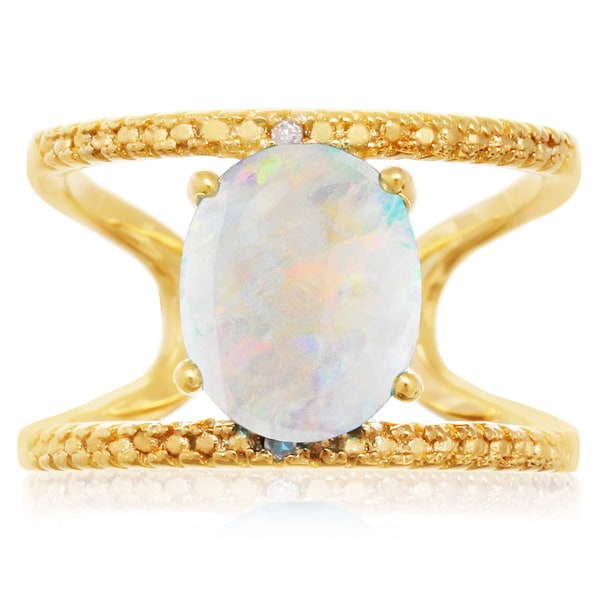3 TGW Opal And Diamond Open Shank Ring In Yellow Gold Over Sterling Silver