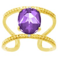 3 TGW Yellow Gold Over Sterling Silver Amethyst and Diamond Accent Open Work Ring