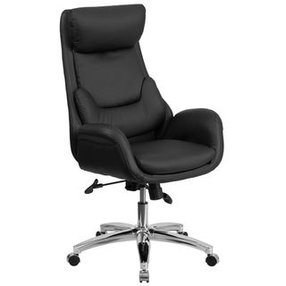 High Back Black LeatherSoft Executive Swivel Office Chair w/ Lumbar Pillow &Arms