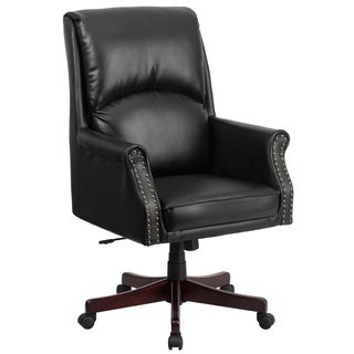 High Back Pillow Back LeatherSoft Executive Swivel Office Chair with Arms