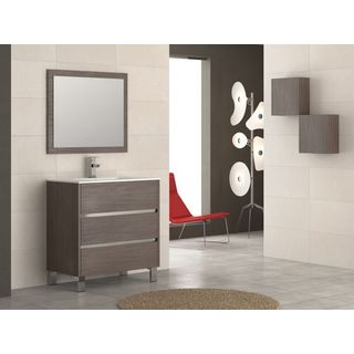 "Eviva Escorpio® 32"" Medium Oak Modern Bathroom Vanity Wall Mount with White Integrated Porcelain Sink"
