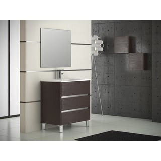 "Eviva Escorpio® 32"" Wenge Modern Bathroom Vanity Wall Mount with White Integrated Porcelain Sink"