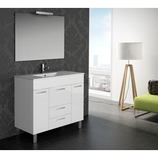 "Eviva Venus® 36"" White Modern Bathroom Vanity Wall Mount with White Integrated Porcelain Sink"